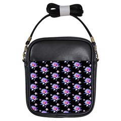 Flowers Pattern Background Lilac Girls Sling Bags by BangZart