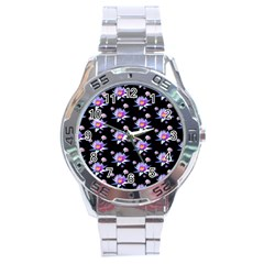Flowers Pattern Background Lilac Stainless Steel Analogue Watch by BangZart