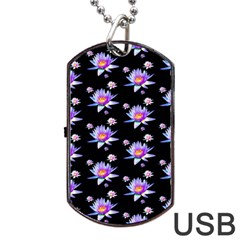 Flowers Pattern Background Lilac Dog Tag Usb Flash (two Sides) by BangZart