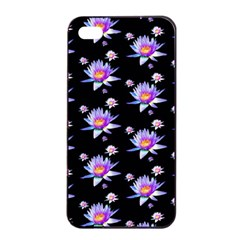 Flowers Pattern Background Lilac Apple Iphone 4/4s Seamless Case (black)