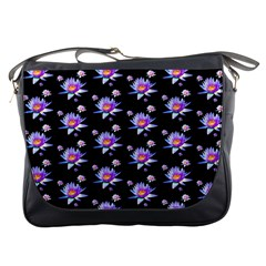 Flowers Pattern Background Lilac Messenger Bags by BangZart