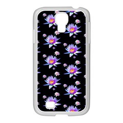 Flowers Pattern Background Lilac Samsung Galaxy S4 I9500/ I9505 Case (white) by BangZart