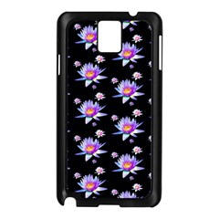 Flowers Pattern Background Lilac Samsung Galaxy Note 3 N9005 Case (black)
