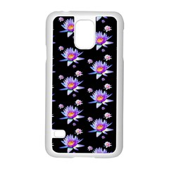 Flowers Pattern Background Lilac Samsung Galaxy S5 Case (white) by BangZart