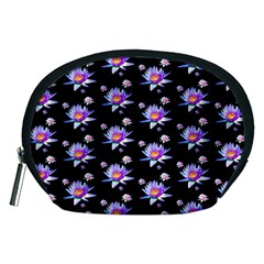 Flowers Pattern Background Lilac Accessory Pouches (medium)