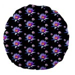 Flowers Pattern Background Lilac Large 18  Premium Flano Round Cushions Front
