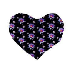 Flowers Pattern Background Lilac Standard 16  Premium Flano Heart Shape Cushions