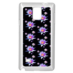 Flowers Pattern Background Lilac Samsung Galaxy Note 4 Case (white)