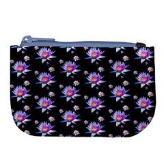 Flowers Pattern Background Lilac Large Coin Purse by BangZart