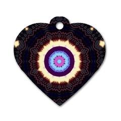 Mandala Art Design Pattern Dog Tag Heart (one Side) by BangZart