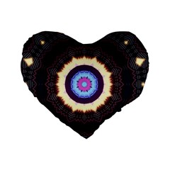 Mandala Art Design Pattern Standard 16  Premium Heart Shape Cushions by BangZart