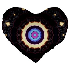 Mandala Art Design Pattern Large 19  Premium Flano Heart Shape Cushions by BangZart