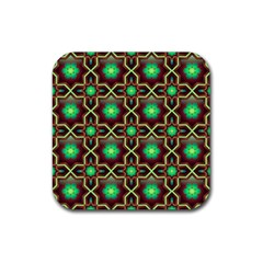 Pattern Background Bright Brown Rubber Square Coaster (4 Pack)  by BangZart