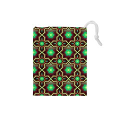 Pattern Background Bright Brown Drawstring Pouches (small)