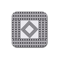 Pattern Background Texture Black Rubber Coaster (square)  by BangZart