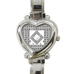 Pattern Background Texture Black Heart Italian Charm Watch by BangZart
