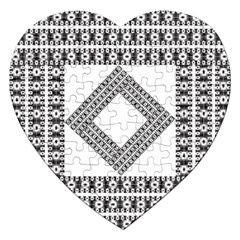Pattern Background Texture Black Jigsaw Puzzle (heart) by BangZart