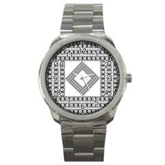Pattern Background Texture Black Sport Metal Watch by BangZart