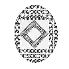 Pattern Background Texture Black Oval Filigree Ornament (two Sides) by BangZart