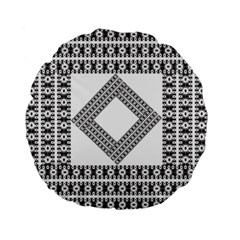 Pattern Background Texture Black Standard 15  Premium Flano Round Cushions by BangZart