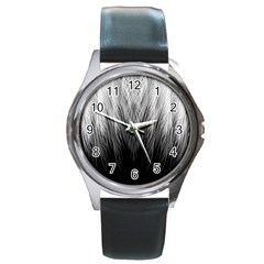 Feather Graphic Design Background Round Metal Watch