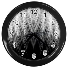 Feather Graphic Design Background Wall Clocks (black)
