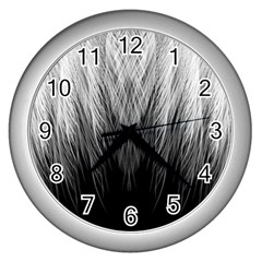 Feather Graphic Design Background Wall Clocks (silver)  by BangZart