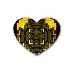 Abstract Glow Kaleidoscopic Light Rubber Coaster (heart)  by BangZart