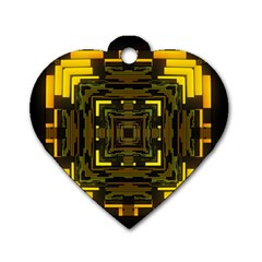 Abstract Glow Kaleidoscopic Light Dog Tag Heart (two Sides) by BangZart