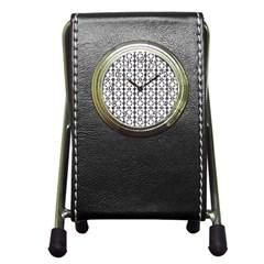 Pattern Background Texture Black Pen Holder Desk Clocks by BangZart