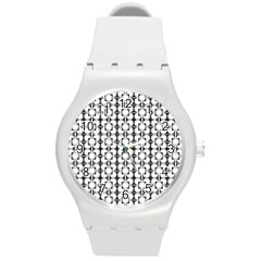 Pattern Background Texture Black Round Plastic Sport Watch (m) by BangZart