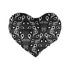 Paisley Pattern Paisley Pattern Standard 16  Premium Flano Heart Shape Cushions by BangZart