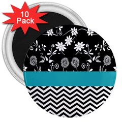 Flowers Turquoise Pattern Floral 3  Magnets (10 Pack)