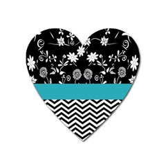 Flowers Turquoise Pattern Floral Heart Magnet by BangZart