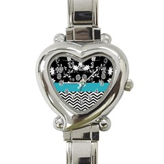 Flowers Turquoise Pattern Floral Heart Italian Charm Watch by BangZart