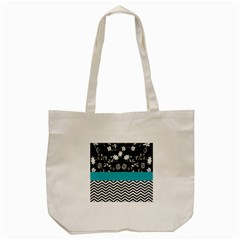 Flowers Turquoise Pattern Floral Tote Bag (cream) by BangZart