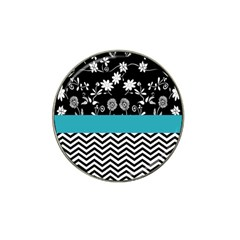 Flowers Turquoise Pattern Floral Hat Clip Ball Marker (10 Pack)