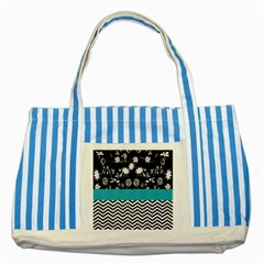 Flowers Turquoise Pattern Floral Striped Blue Tote Bag by BangZart