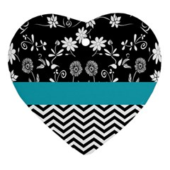 Flowers Turquoise Pattern Floral Heart Ornament (two Sides) by BangZart