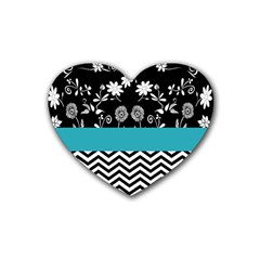 Flowers Turquoise Pattern Floral Rubber Coaster (heart)  by BangZart