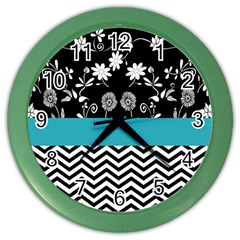 Flowers Turquoise Pattern Floral Color Wall Clocks