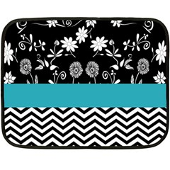 Flowers Turquoise Pattern Floral Double Sided Fleece Blanket (mini)