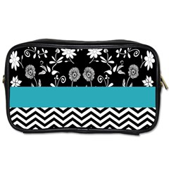 Flowers Turquoise Pattern Floral Toiletries Bags 2 Side by BangZart