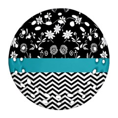Flowers Turquoise Pattern Floral Round Filigree Ornament (two Sides) by BangZart