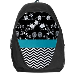 Flowers Turquoise Pattern Floral Backpack Bag by BangZart