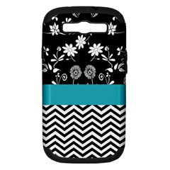 Flowers Turquoise Pattern Floral Samsung Galaxy S Iii Hardshell Case (pc+silicone)
