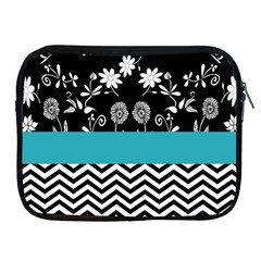 Flowers Turquoise Pattern Floral Apple Ipad 2/3/4 Zipper Cases by BangZart