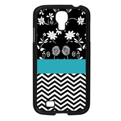 Flowers Turquoise Pattern Floral Samsung Galaxy S4 I9500/ I9505 Case (black) by BangZart