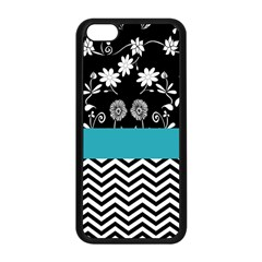 Flowers Turquoise Pattern Floral Apple Iphone 5c Seamless Case (black) by BangZart