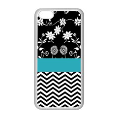 Flowers Turquoise Pattern Floral Apple Iphone 5c Seamless Case (white)